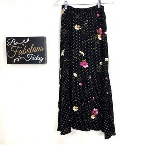 Vintage 90s Floral Daisy Polkadot Skirt